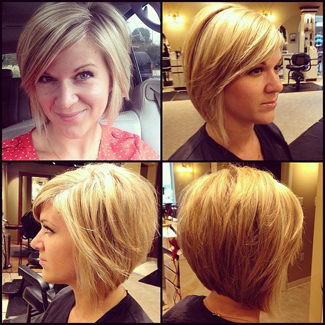 layered inverted bob hairstyle with bangs