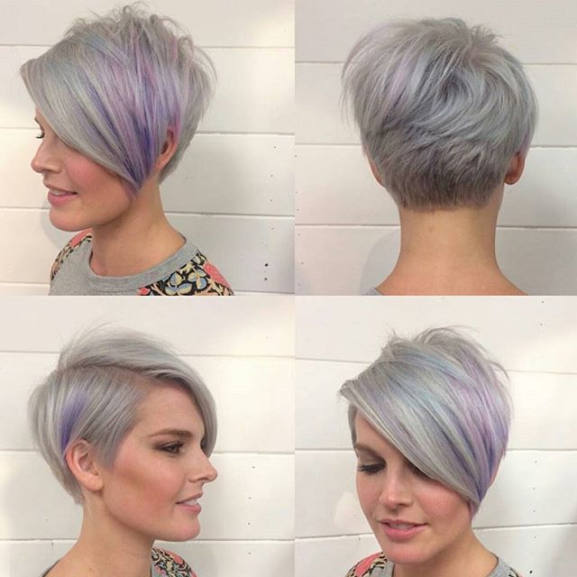 Longger Pixie Cut With Long Bangs Gray Hair Color Ideas