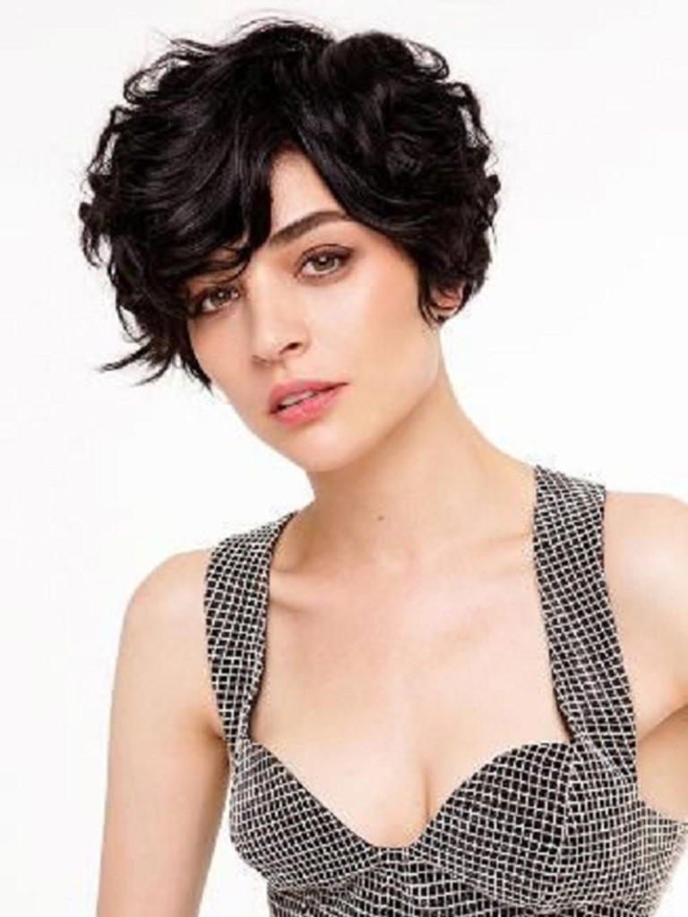 short black curly pixie cut