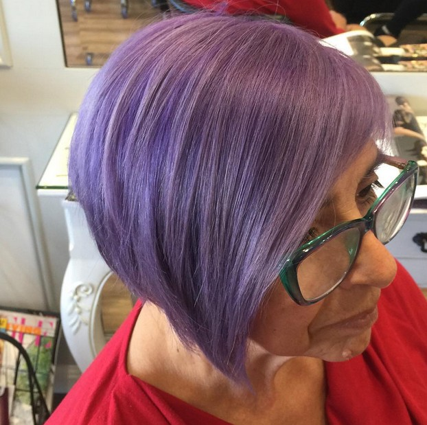 short pastel purple hairstyle for older women over 60