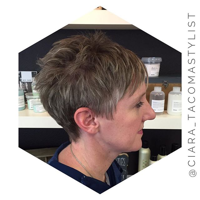 side view of short pixie haircut