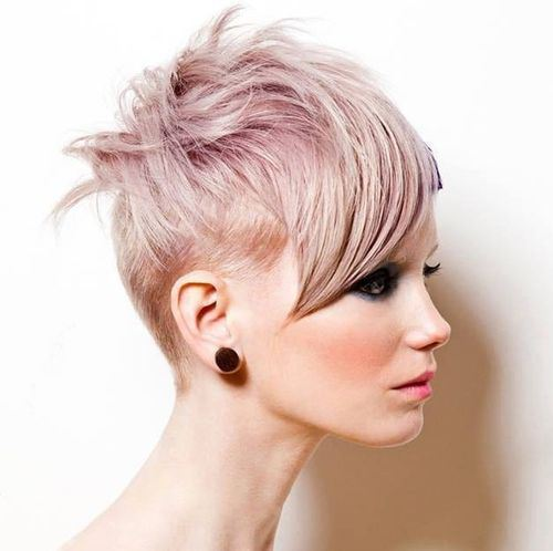Pink Short Haircut for Thin Hair