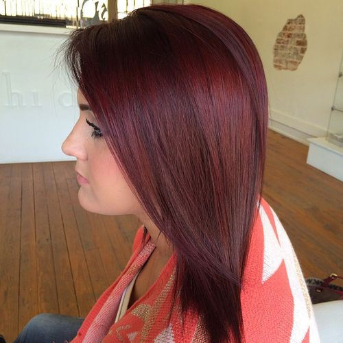 Popular Burgundy Hair with Purple Highlights