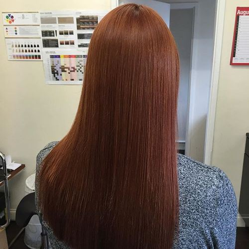 Beautiful Dark Auburn for Straight Hair