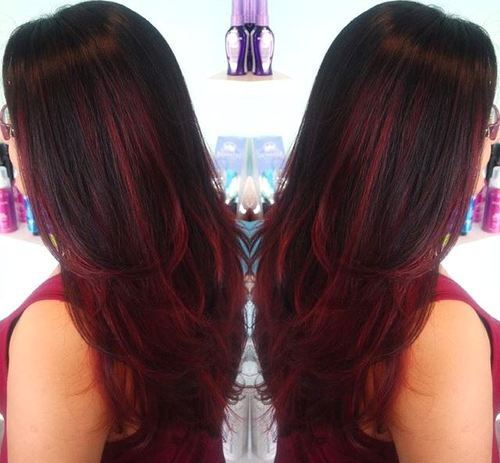 Brunette Hair with Burgundy Highlights