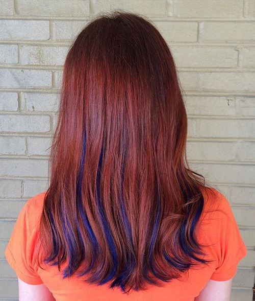 Red Hair with Blue Highlights