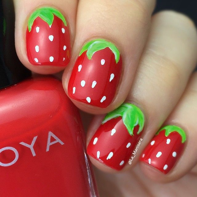Adorable Strawberry Nail Design