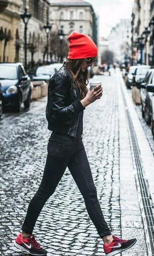 All Black Outfit with A Red Hat