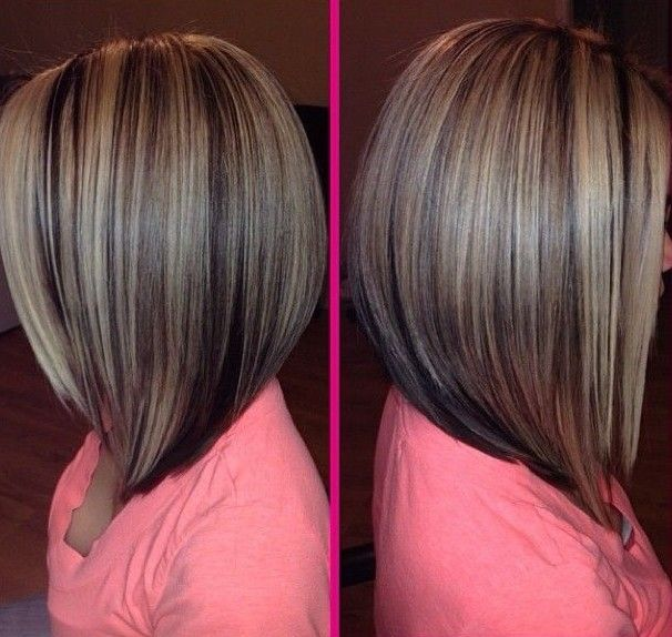 Angled straight bob hairstyle for thin hair