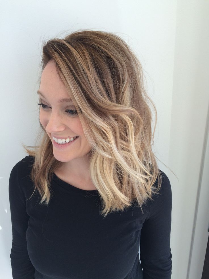 Balayage blonde ombré long bob