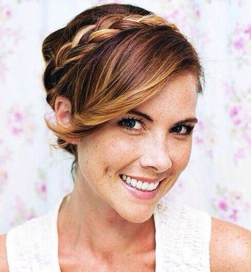 Braided Updo with Side-swept Bangs