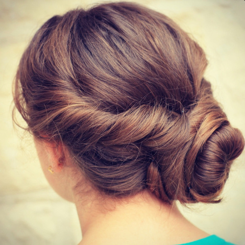 Brunette Twisted Low Bun for Prom