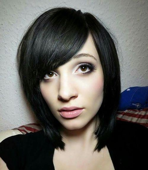 Chic Black Bob with Side-parted Bangs