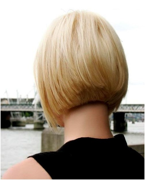 Classic short blonde bob cut for women - back view