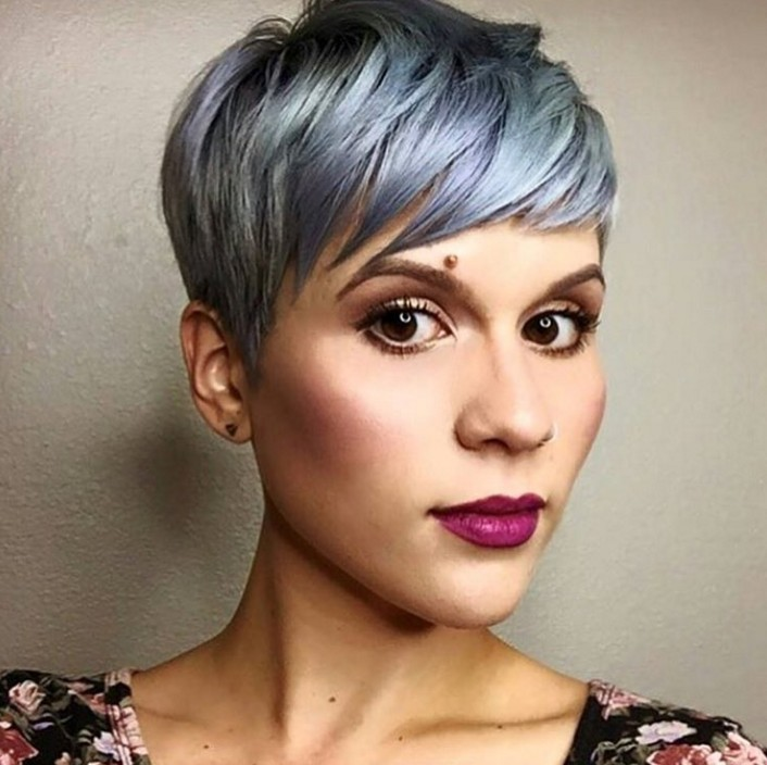 Classical Short Pixie cut in Pastel Blue