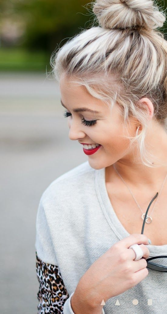 Cute Ash Blonde Top Knot Hairstyle