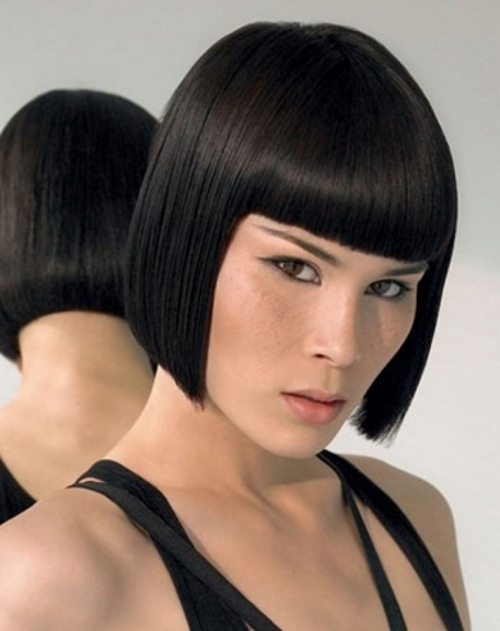 Faddish Black Bob with Blunt Ends