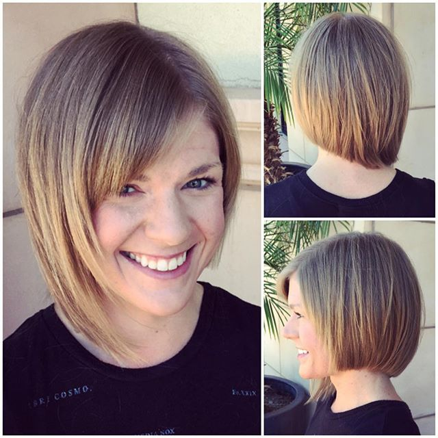 Cute Asymmetrical Bob Hairstyle With Bangs