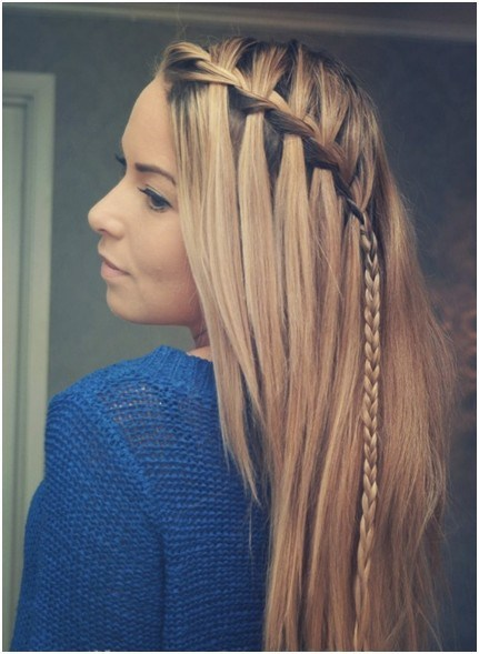 Diagonal Waterfall Braide for Long Straight Hair