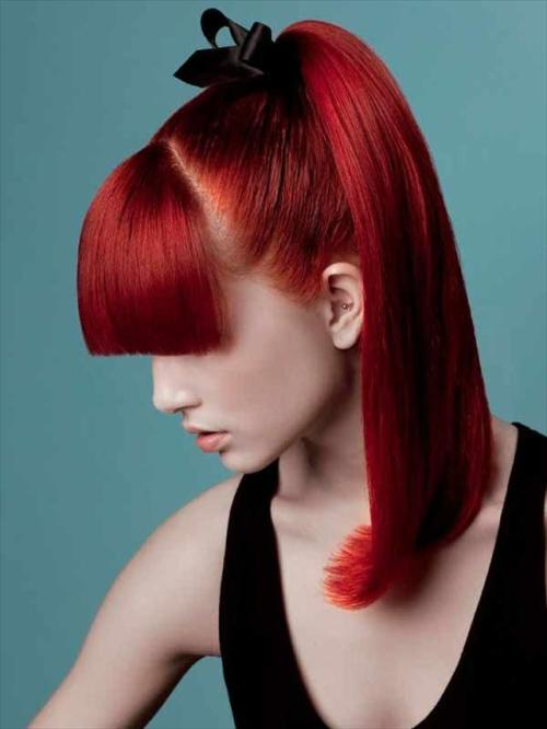 Fashionable High Ponytail for Red Hair