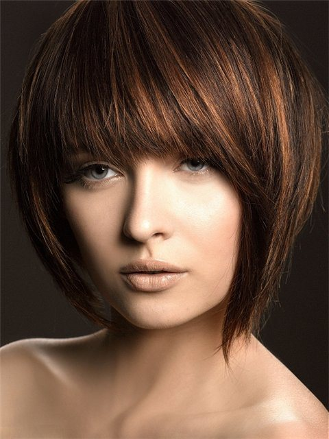 Fashionable Highlighted Bob for Brown Hair