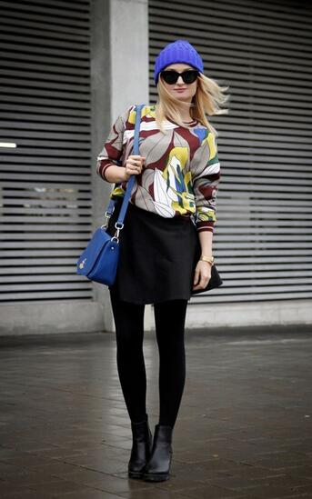 Floral Blouse Outfit with Blue Hat