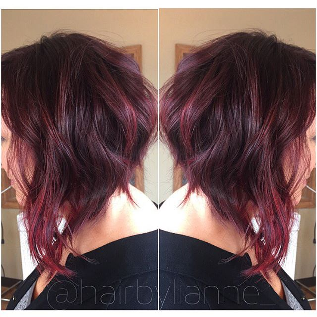 Inverted Messy Purple Bob Hairstyle