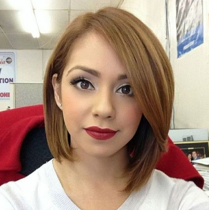 Layered asymmetrical bob hairstyle for women