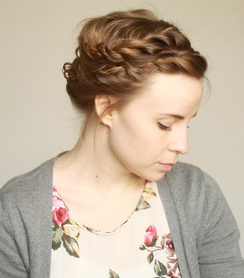 Loose Braided Crown Prom Hairstyle