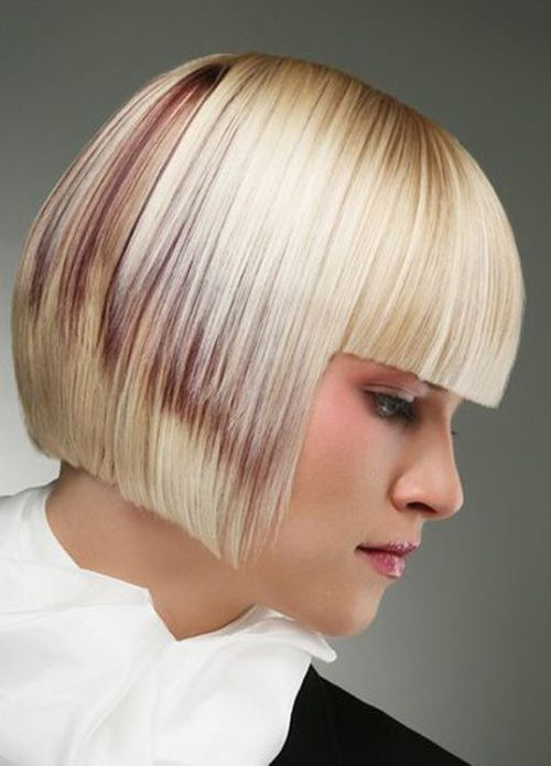 Lovely Blonde Bob with Highlights for Thick Hair