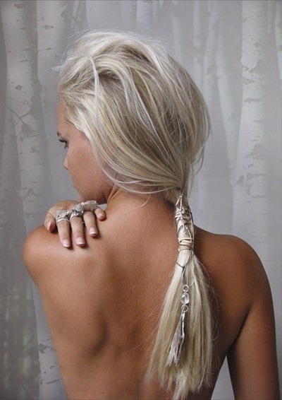 Messy Ash Blonde Ponytail with Accessories