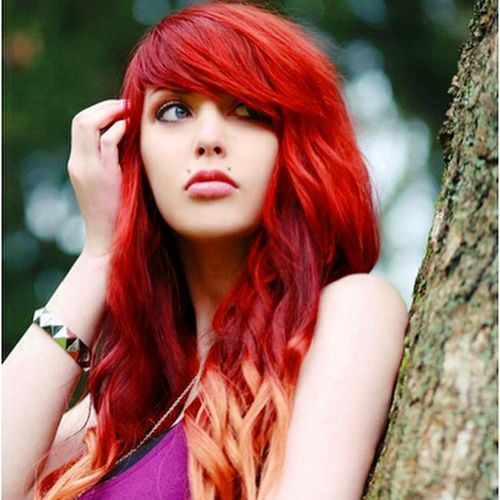Ombre Red Hair with Thick Side Bangs