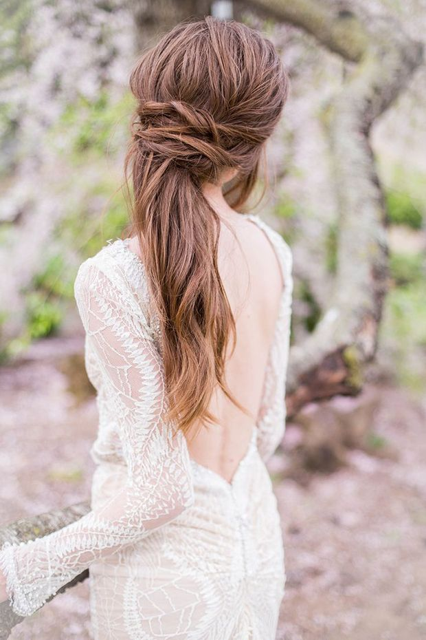 Pretty Messy Hairstyle for Brides