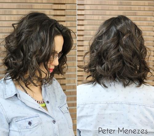 Short messy dark brown wavy bob haircut