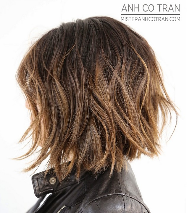 Short shaggy bob haircut for thick hair