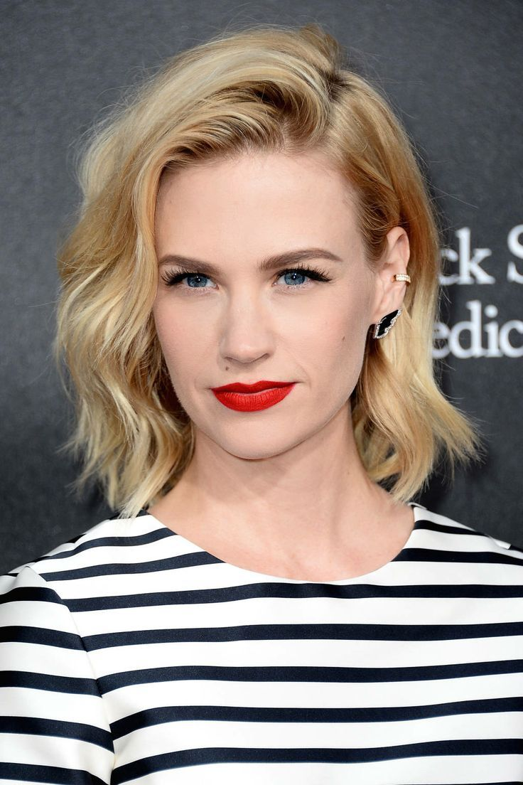 Side-Parted Short Wavy Haircut with Bright Red Lips