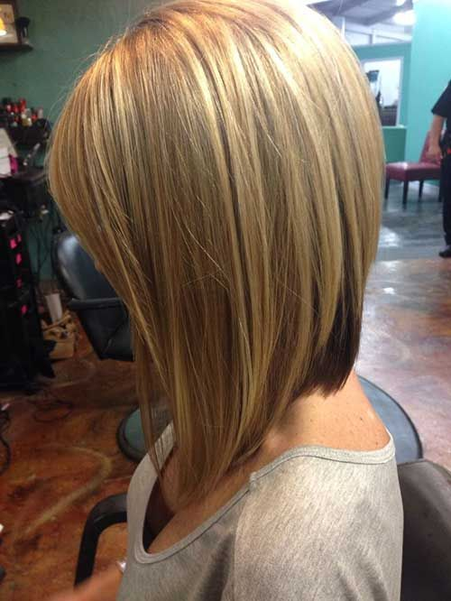 Side View of long Inverted Bob Hairstyle