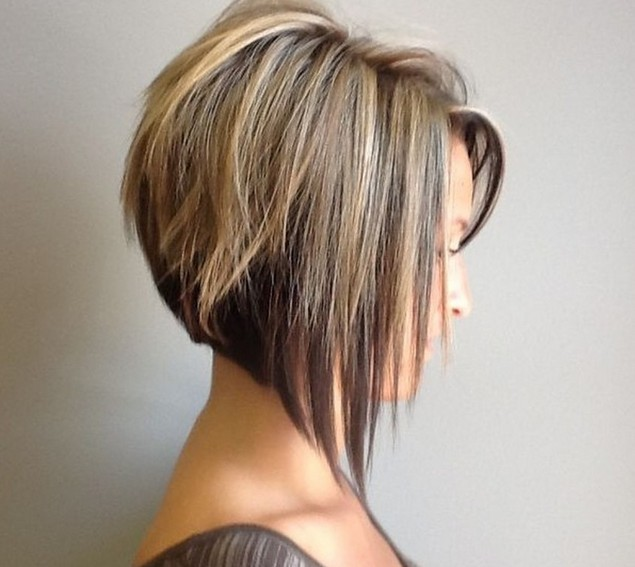 Asymmetrical Bob With Choppy Layers And Highlights