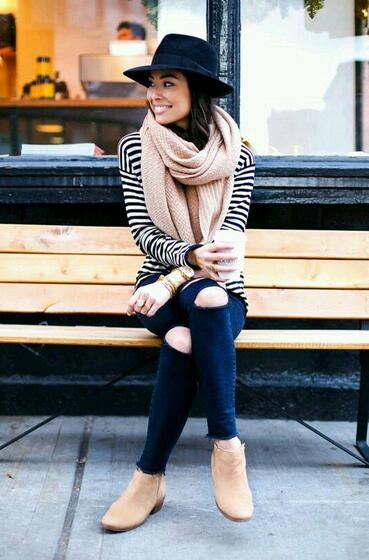Striped Coat with A Hat and Scarf