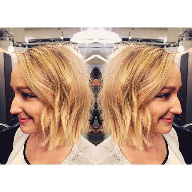 Tousled blonde bob hairstyle for women