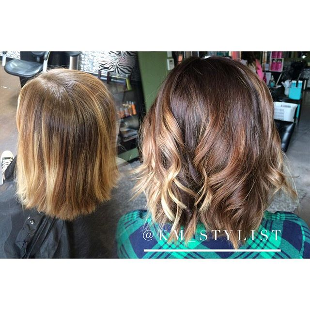 Summer and fall balayage bob cut