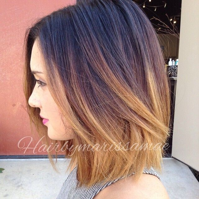 dark to blonde ombre bob hairstyle for thick hair