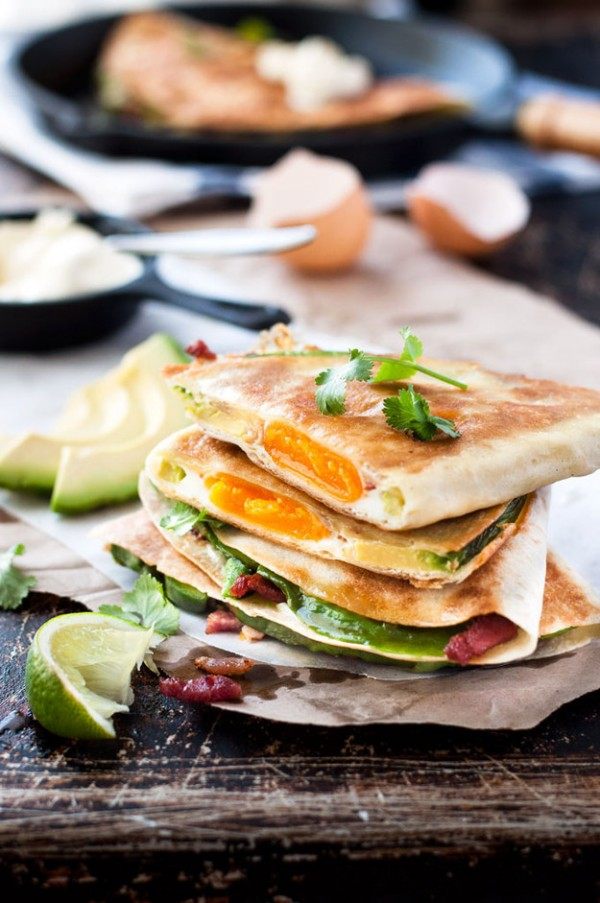 Avocado and Bacon Quesadilla with Eggs