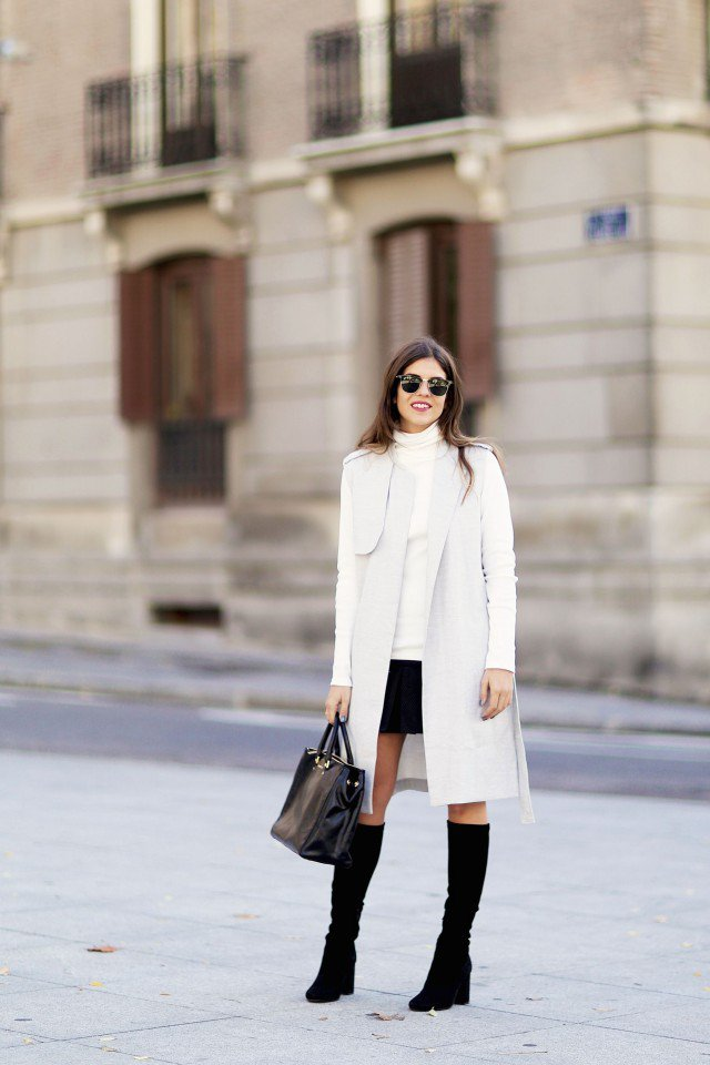 White Cardigan Coat Outfit for Work