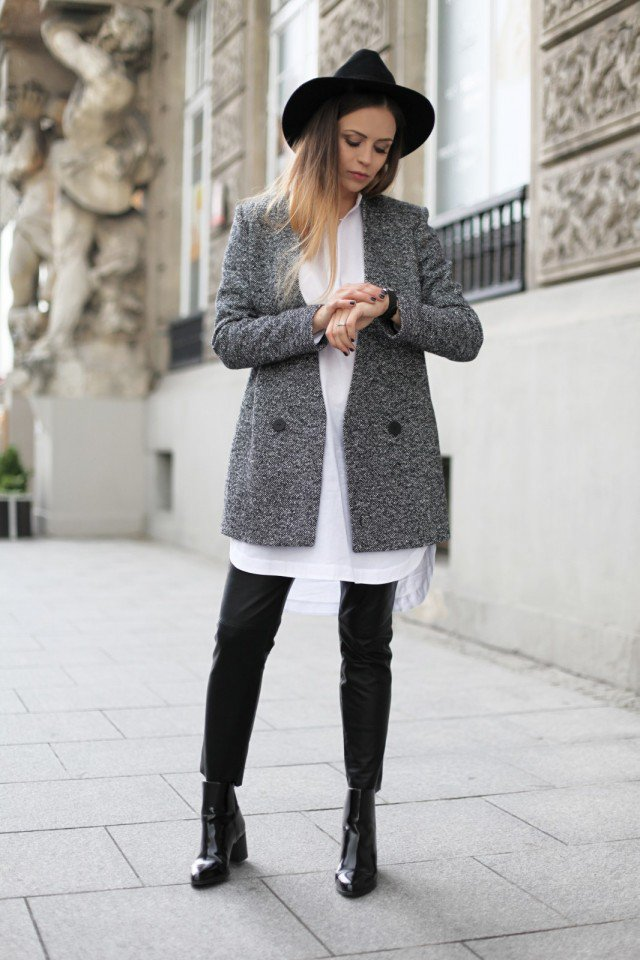 Grey Coat Ankle Boots And A Hat