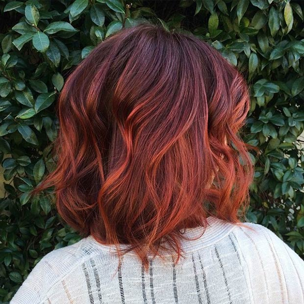 red ombre bob hairstyle back view