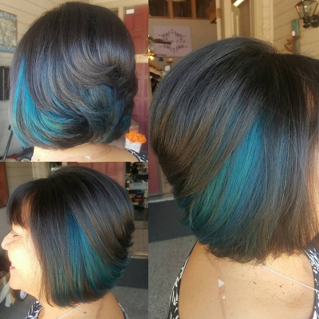 short stacked bob cut with dark blue hair color