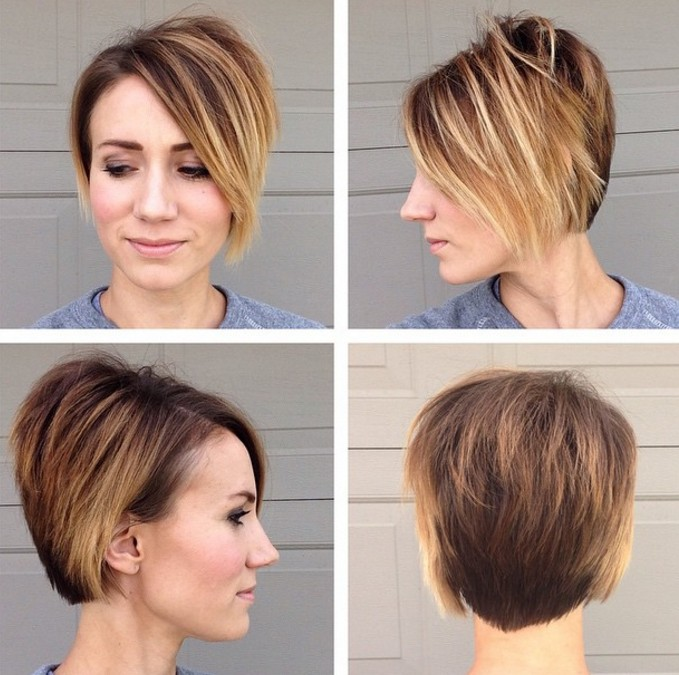 simple easy long ombre pixie cut