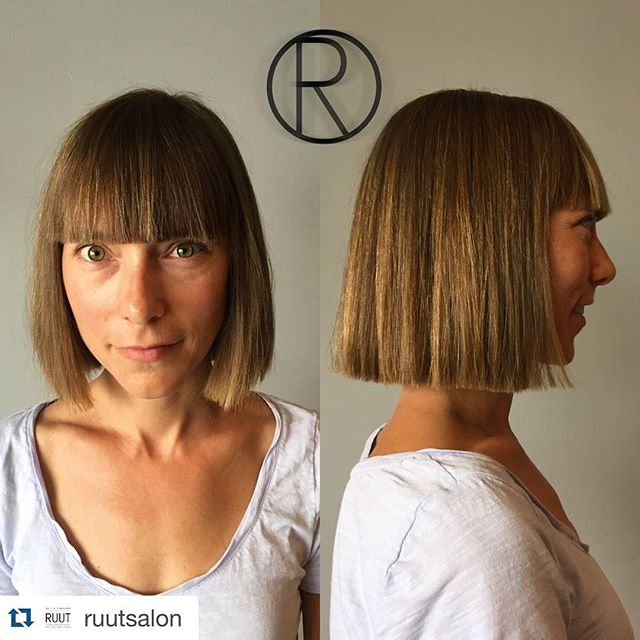 Simple short blunt bob haircut for women over 40