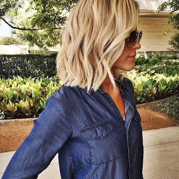 textured blonde choppy bob hairstyle with glasses